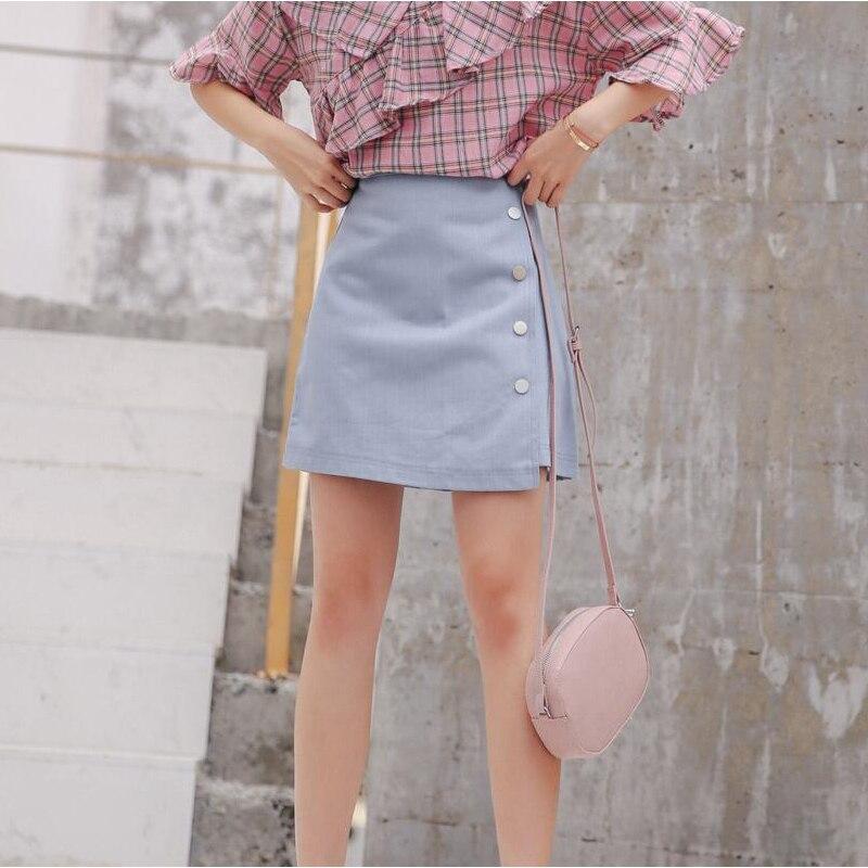 2019 new fashion asymmetric single breasted denim skirt short skirt fresh and sweet A line solid skirt OLOEY XDQ194