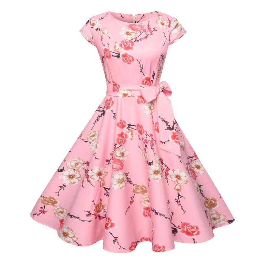 2018 Vintage O-Neck Cute  Print Pleated Short Women Dress  Summer  Dress  18MAY28