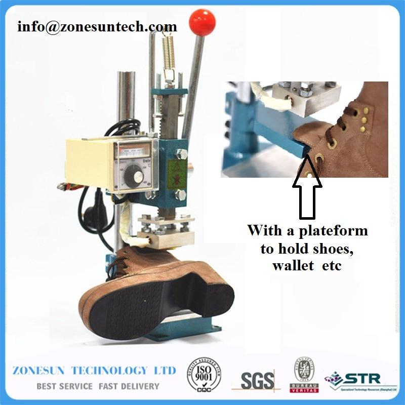 Shoes Stamping Machine, belts leather printer, Handbags Creasing machine, marking press, wallet embossing machine