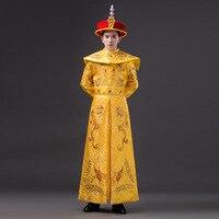 Высококачественные мужские китайские костюмы императрицы с костюм дракона для косплея мужской ханьфу древний император династии Цин с шап