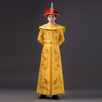 High Quality Men Chinese Empress Costumes with Dragon Cosplay Costume Male Hanfu Ancient Qing Dynasty Emperor with Hat