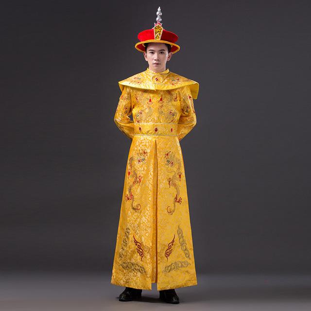 Los Hombres de alta Calidad Chino Emperatriz Trajes con Dragón Cosplay Traje Masculino Hanfu Antigua Dinastía Qing Emperador con Sombrero