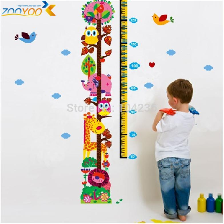 Giraffe growth chart wall stickers for kids room home decorations zooyoo children decals animal art girls birthday  also rh aliexpress