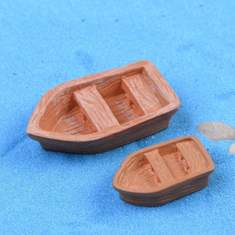 2 Pcs/set Mini Boat Figurines Miniature Resin Crafts Ornament Gnomes Moss Micro Landscape Cake Keys Plastic Crafts Home Decor