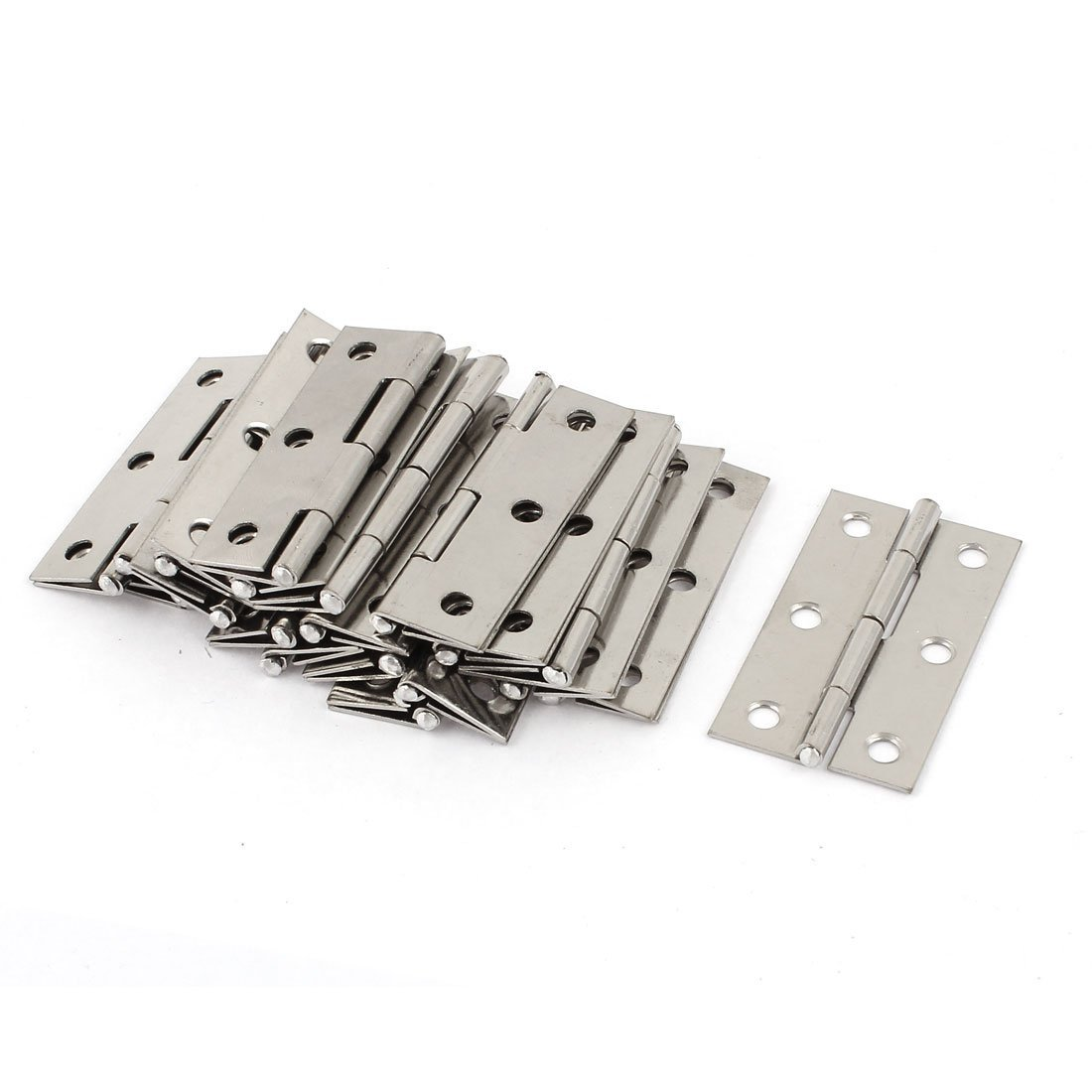 20 Pcs Silver Stainless Steel 6 Mounting Holes Butt Hinges 2.5 Inches Long