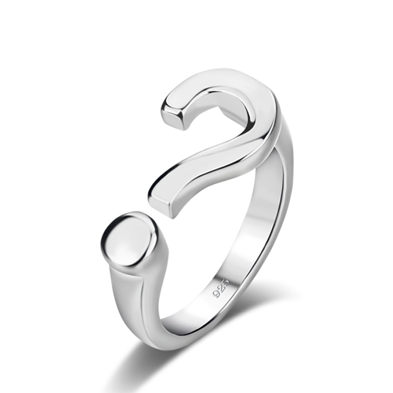 Fashion women sterling silver ring.Personality question mark ring can be adjusted.Solid 925 silver ring.Charming lady jewelry