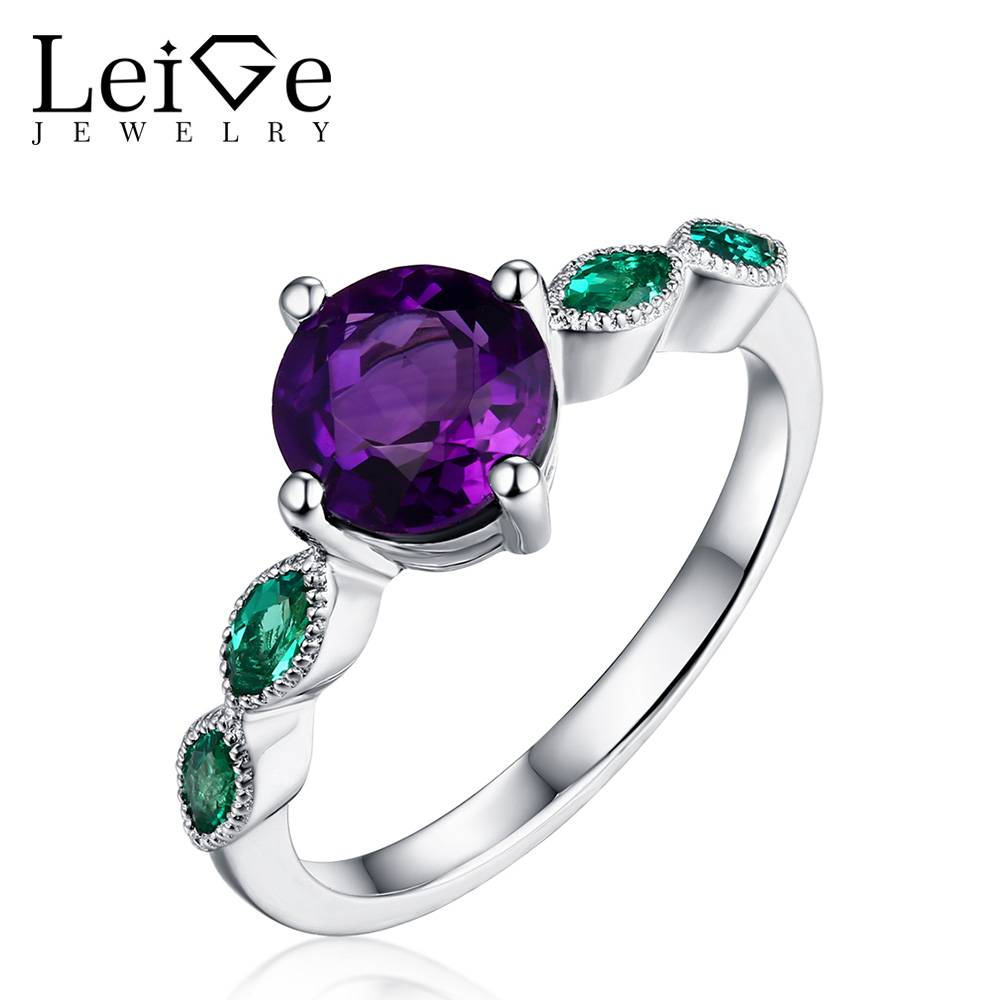 Leige Jewelry Round Cut Real Amethyst Engagement Ring 925 Sterling Silver Jewelry Wedding Rings for Women February BirthstoneLeige Jewelry Round Cut Real Amethyst Engagement Ring 925 Sterling Silver Jewelry Wedding Rings for Women February Birthstone