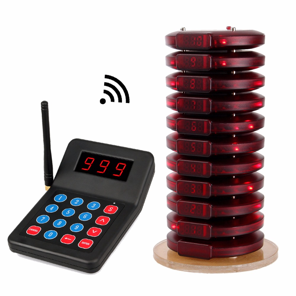 Restaurant Pager Wireless Paging Queuing System Guest Table Calling 999 Channel Coaster Pagers For Fast Food Cafe Shop F3354A guest paging system for restaurant services with one set of 1 display 2 watches and 5 table buttons shipping free