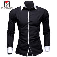 2017 New Fashion Brand Men Shirt Color Stitching Dress Shirt Long Sleeve Slim Fit Camisa Masculina