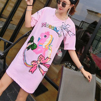 MUMUZI Woman High Street Dresses 2018 Sequin T Shirt Dress Horse Cute Loose Tee Shirts Glitter Tops Summer Dress Sequin tops