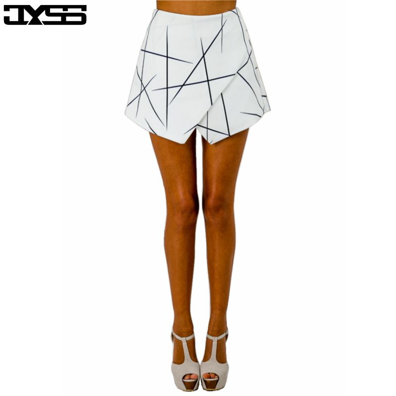 Summer European Style New Asymmetric White Women Shorts Skirts Geometric Print Irregular Sexy Shorts For Ladies 80657#