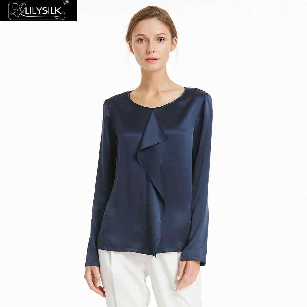 a02d6287015f18 LILYSILK Shirt Blouse Women Feminine Silk 22mm Neutral Basic Ladies Tops  Free Shipping Clearance Sale