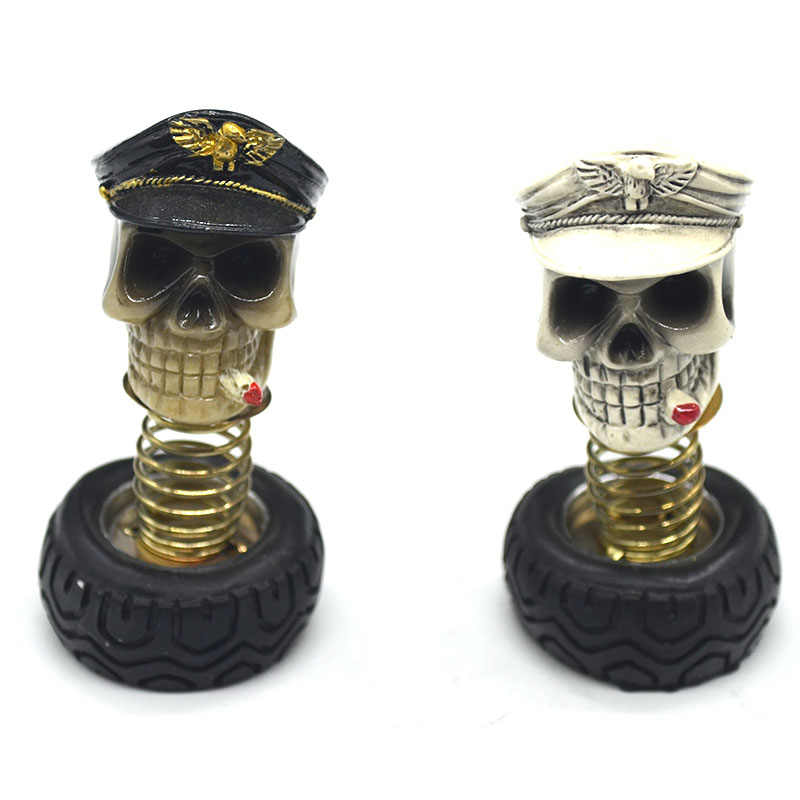 Car Ornament Skull Resin Spring Connection Car Decoration Interiors Car Ornaments Auto Interior Decorations Accessories