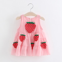 Baby Girl Dress 0 3Y Newborn Baby Summer Embroidery Flower Strawberry Cotton Dress Infant Baby Girls Birthday Dress Baby Clothes