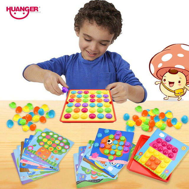 Huanger Baby 3D Mushroom Nail Art Button Puzzles Toys for Children ...