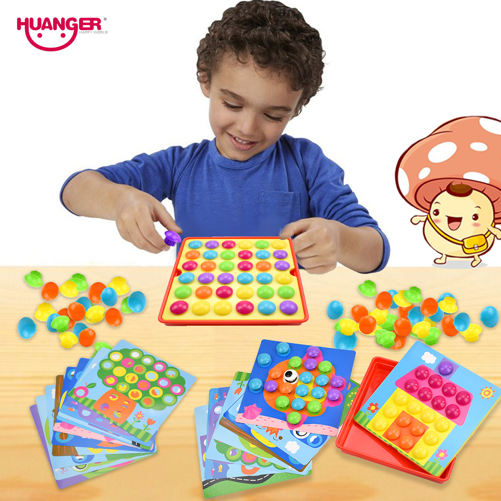 Huanger Button Puzzles Toys Hobbies Baby 3d Mushroom Nail