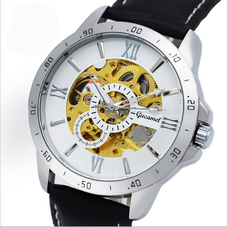 Automatic Mechanical Watch Business Men's Hollow Waterproof Mineral Glass Real Leather With calendar Two eyes