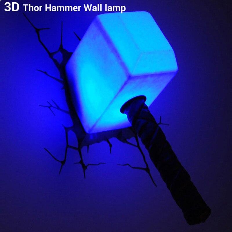 10.2 Inch Avengers:Infinity War Superhero Chris Hemsworth Thor Mjolnir With LED Light 3D Decoration Living Room Wall Lamp S588 hitler s war aims