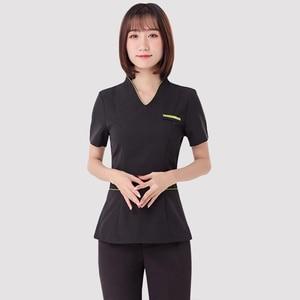 Image 2 - Spa uniforms Beautician working clothing tooling technician sauna bath foot bath massage foot short sleeved uniforms