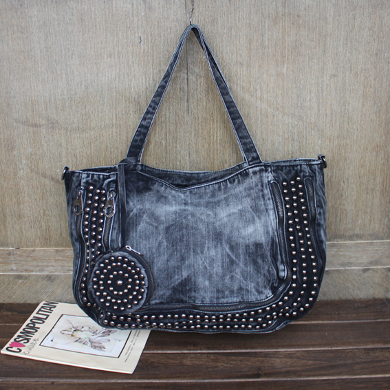 Casual Fashion Zipper Design Denim Rivets Vintage Women Tote Bags Lady Handbags Jeans Denim Shoulder Bag Messenger bags 3724 цена