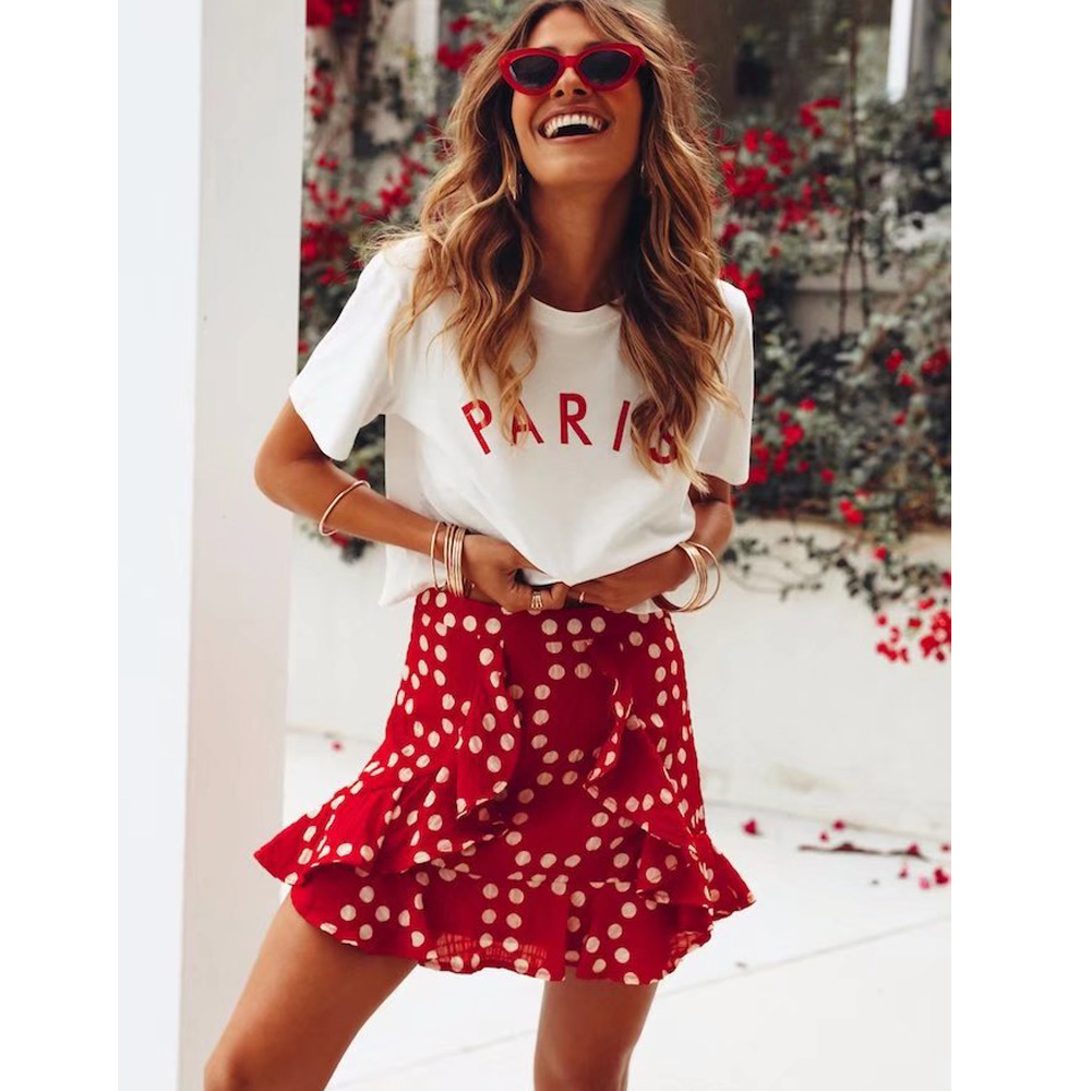 Causey Boho wrap skirts womens Polka dot spring mini skirt summer Streetwear ruffles striped skirts female 2018
