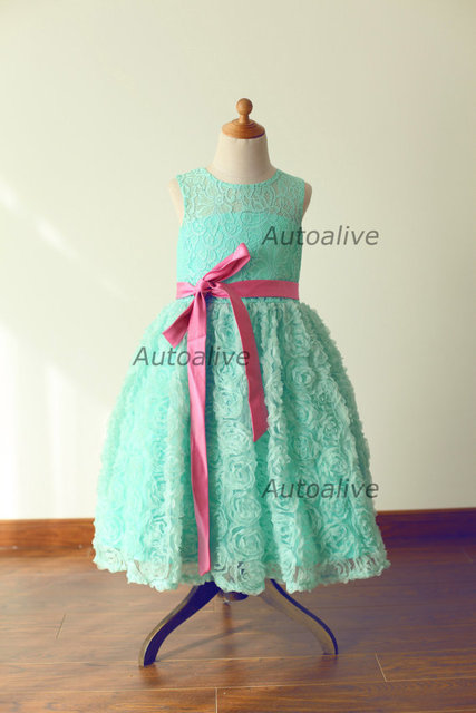 Mint Blue Lace Rosette Keyhole Flower Girl Dress Communion Baptism Junior  Bridesmaid Dress 978e2cdb3bbc