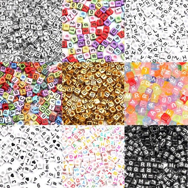200 шт. акриловые бусины с разноцветными цифрами для ювелирных украшений, расшитые бусинами, браслет, ожерелье, шарм, ювелирное изделие
