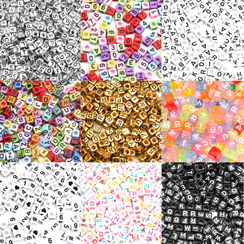 200Pcs Colourful Number Letters Acrylic Beads For Jewellery Marking Loose Spacer Beads Bracelet Necklace Charm Jewelry Finding