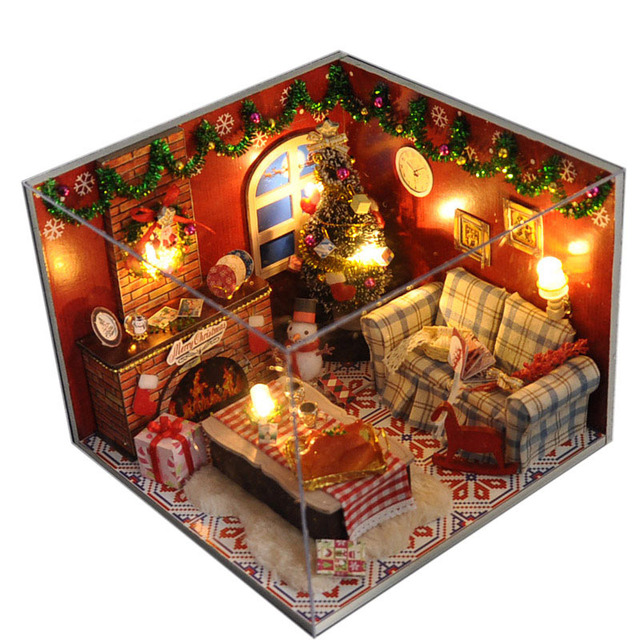 Christmas Gift Diy Wooden Doll House With Furniture&Light &Dust ...