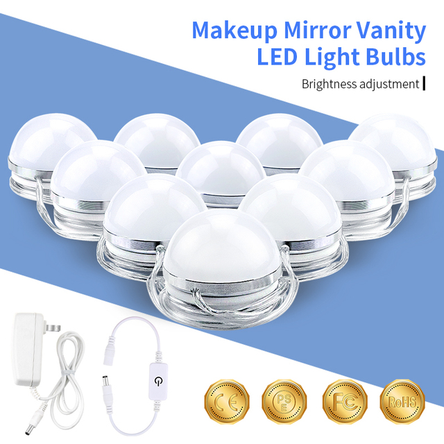 Makeup Vanity Led Light 12v 6 10 14 Bulbs Kit For Dressing Table