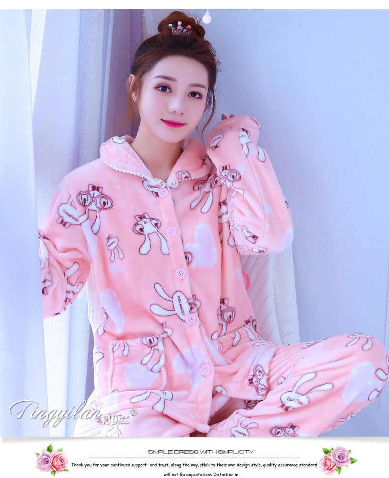 ... Women Flannel Pajamas Female Coral Fleece Pajama Sets Girls Warm Sleepwear  Velvet Long-sleeve Casual ... db1e5a0cd