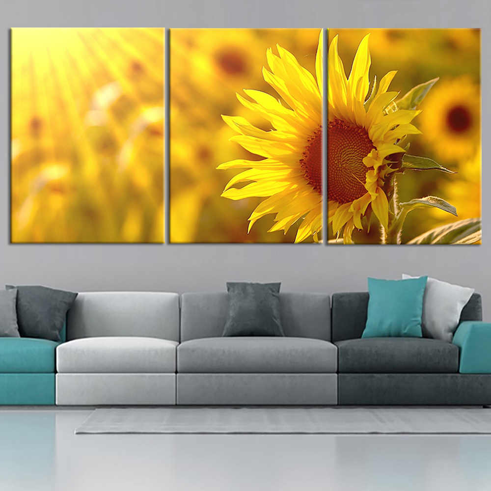 Home Decor Modular Canvas Pictures Wall Art Framework 3 Pieces Sunshine Sunflower Flowers Paintings Living Room HD Prints Poster