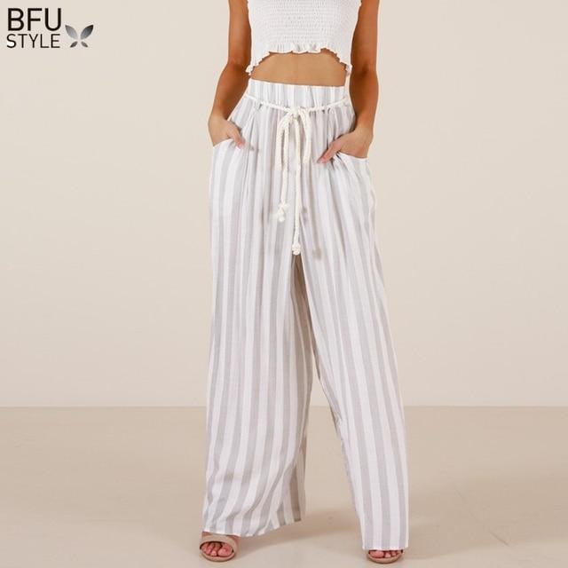 ebd3e6dc9f Stripe Wide Leg Pants Women Summer High Waist Beach Trousers Chic  Streetwear Sash Casual Pants Capris Female Harem Pants Palazzo