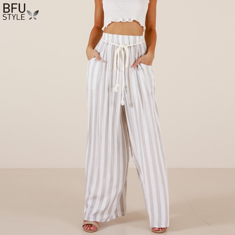 Stripe   Wide     Leg     Pants   Women Summer High Waist Beach Trousers Chic Streetwear Sash Casual   Pants   Capris Female Harem   Pants   Palazzo