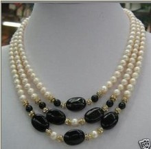 Wedding Woman Jewelry 3 Rows Necklace Natural White Pearl 8-9mm Freshwater Pearl Black Stone Necklace Handmade Free Shipping