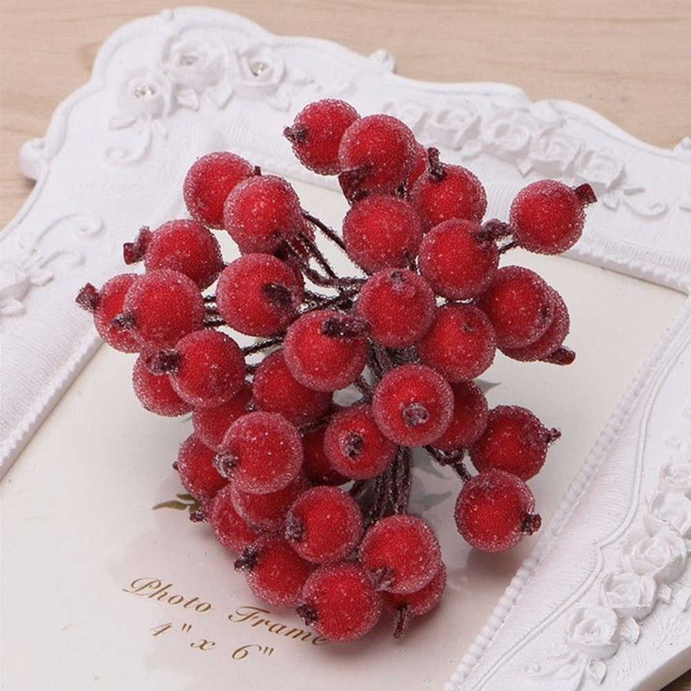 40pcs Decoration DIY Accessories Frosted Simulation Home Artificial Berries Ornament Christmas Trees Foam Plant Fruit