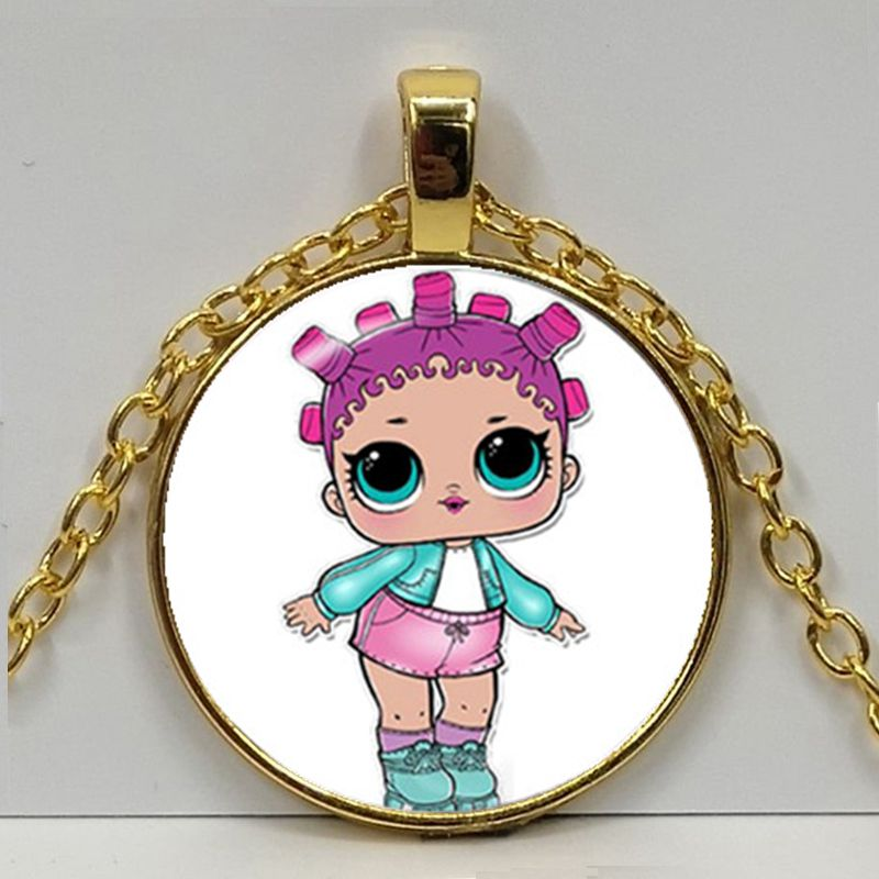 Мультяшное ожерелье с изображением куклы милое детское блестящее платье принцессы куклы стеклянные ожерелья аниме для детей подарок на день рождения - Окраска металла: Gold 1