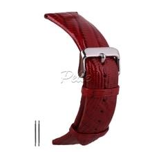 Pelle 18mm 20mm Lizard Grained Leather Watch Strap Waterproof Genuine Band Silver Buckle
