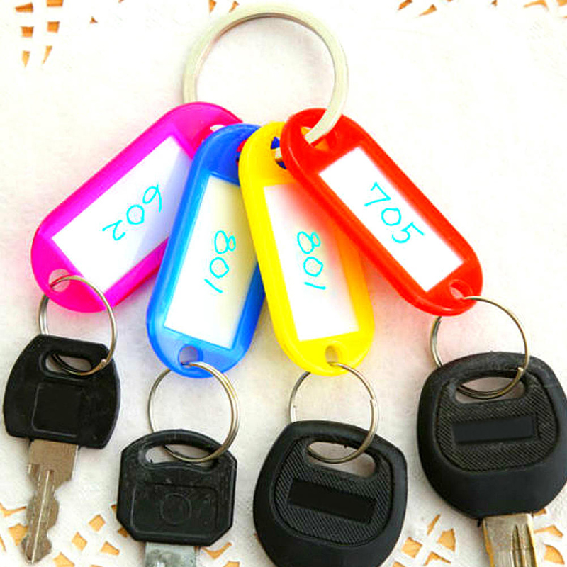 25 Plastic Colour Key Tags with Paper Inserts Split Rings