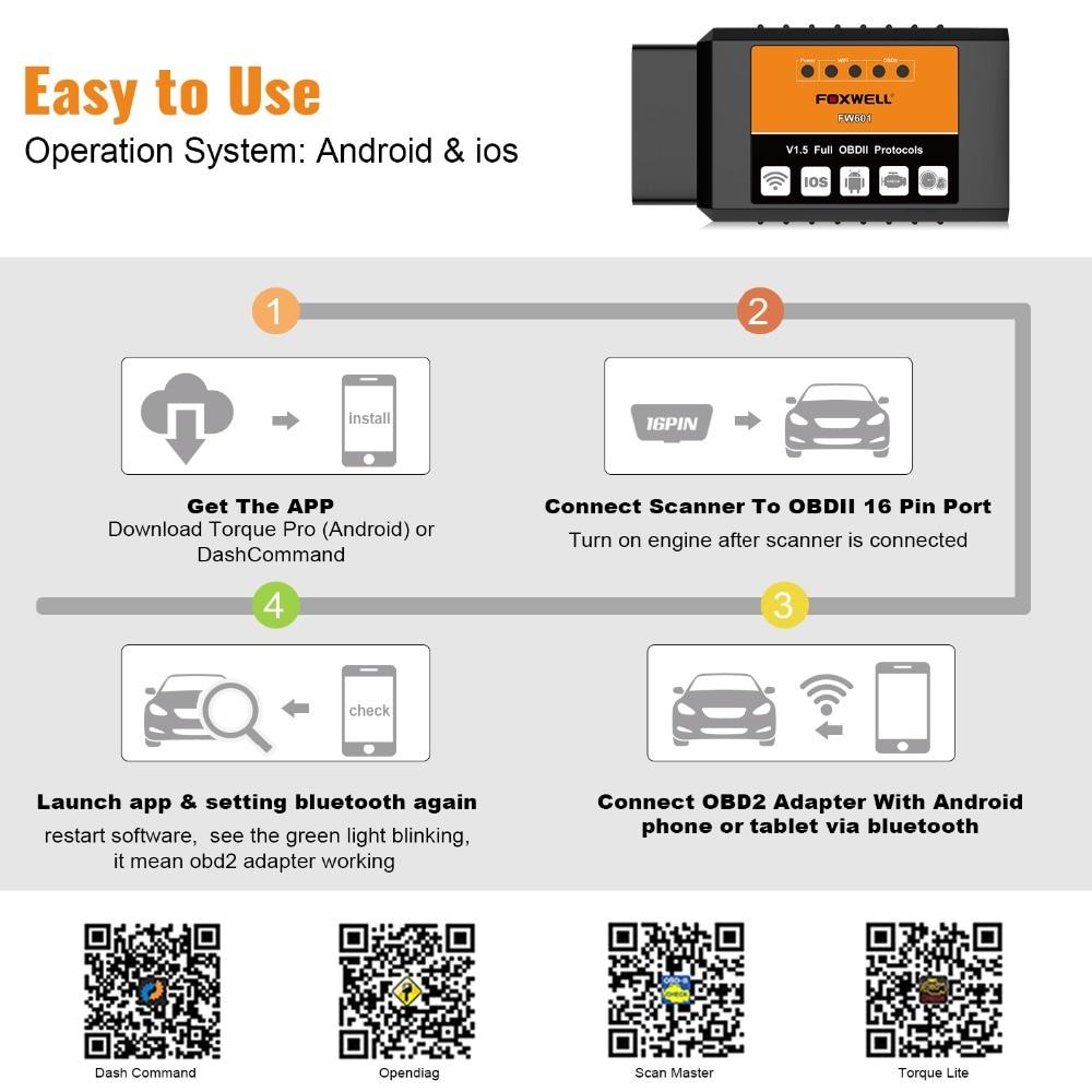 HTB14rJraozrK1RjSspmq6AOdFXas FOXWELL FW601 Universal OBD2 WIFI ELM327 V 1.5 Scanner for iPhone IOS Auto OBDII Scan Tool OBD 2 Code Reader V1.5 WI-FI ODB2