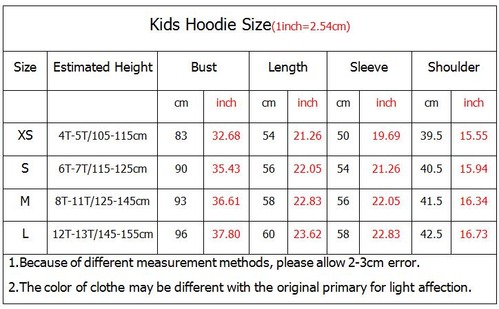 Kids Hoodie Size