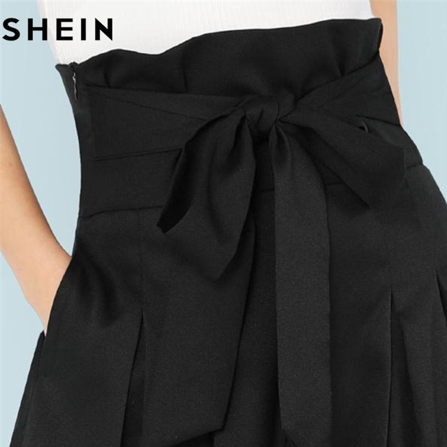 SHEIN Self Belted Box Pleated Palazzo Pants Women Elegant Loose Long Pants 2018 Fall Ginger High Waist Wide Leg Pants 4