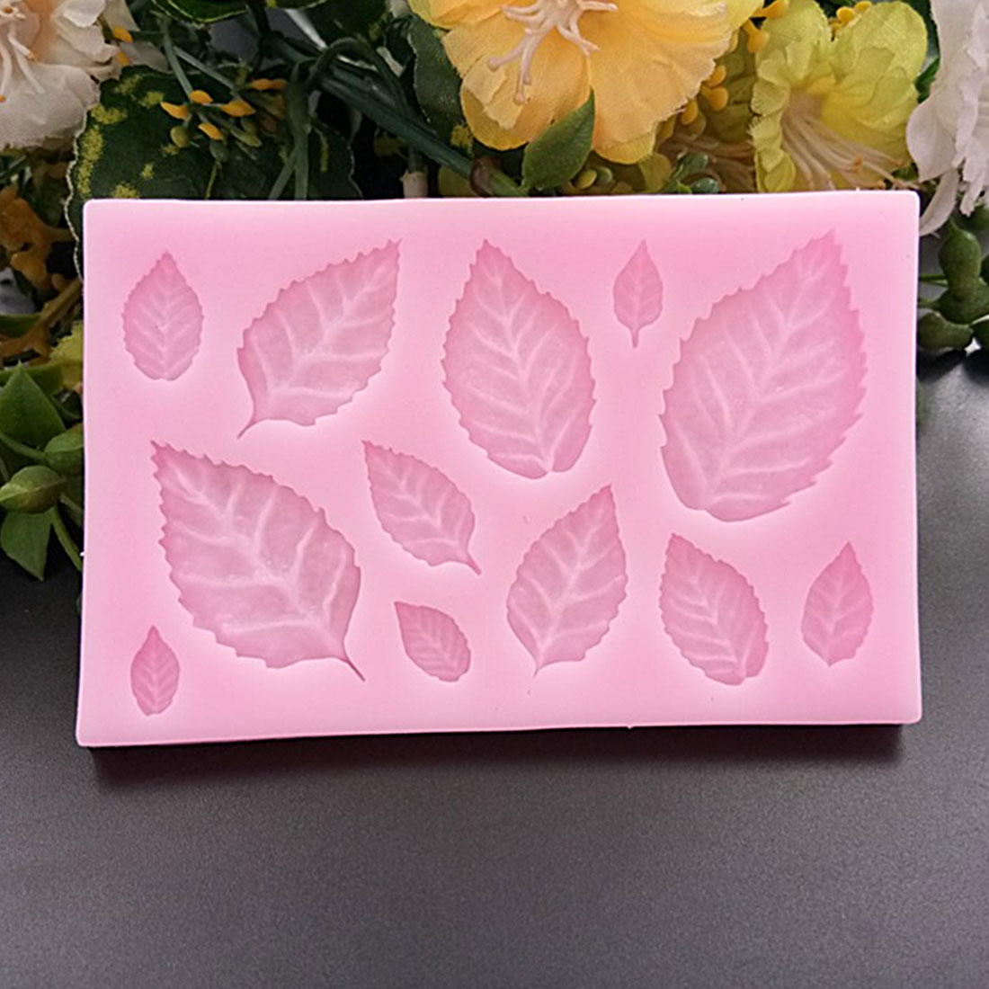 Hot Sale Leaf Shaped Silicone Press Mold Leaves Cake Decoration Fondant cookies tools 3D Silicone Mould Gumpaste Candy