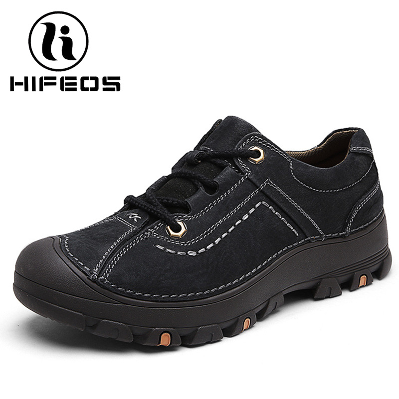 HIFEOS men's shoes outdoor trekking shoes leather climing boots anti-slip touring comfortable anti-collision breathable M076 hifeos outdoor hiking shoes anti slip boots lace invisible increased men s shoes comfortable breathable sneakers climing m065