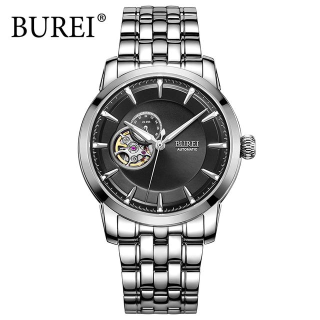BUREI Fashion Business Watch Men Mechanical Stainless Steel 24 hours Dial Gents Wristwatch Waterproof Male Clock Relojes Hombre