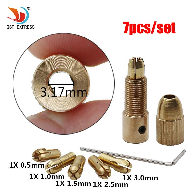 QSTEXPRESS High Quality Best Price 5pcs/Set 0.5-3mm Small Electric Drill Bit Collet Micro Twist Drill Chuck Set
