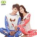 GOPLUS Nueva Amantes de la Moda Par Pijamas para Hombres de Las Mujeres de Dibujos Animados Pijamas Otoño invierno Suaves Pantalones de Pijama Mujer Hombre Sleepwearing