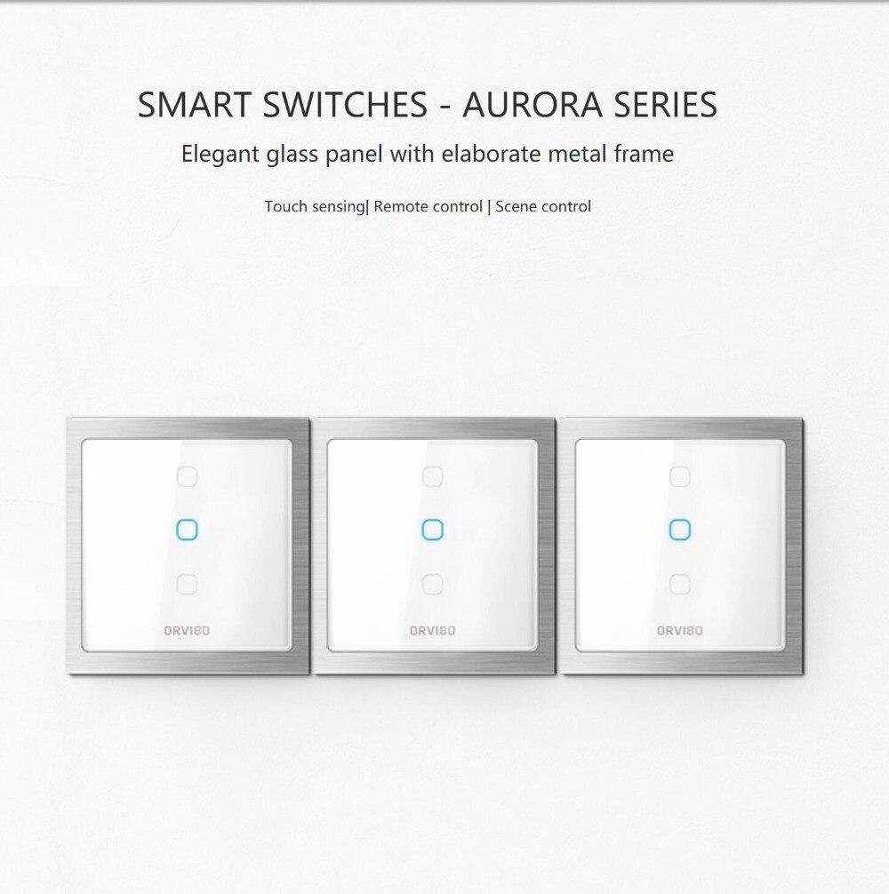 2018 interrupteurs intelligents Orvibo-panneau en verre élégant de la série AURORA avec cadre en métal élaboré