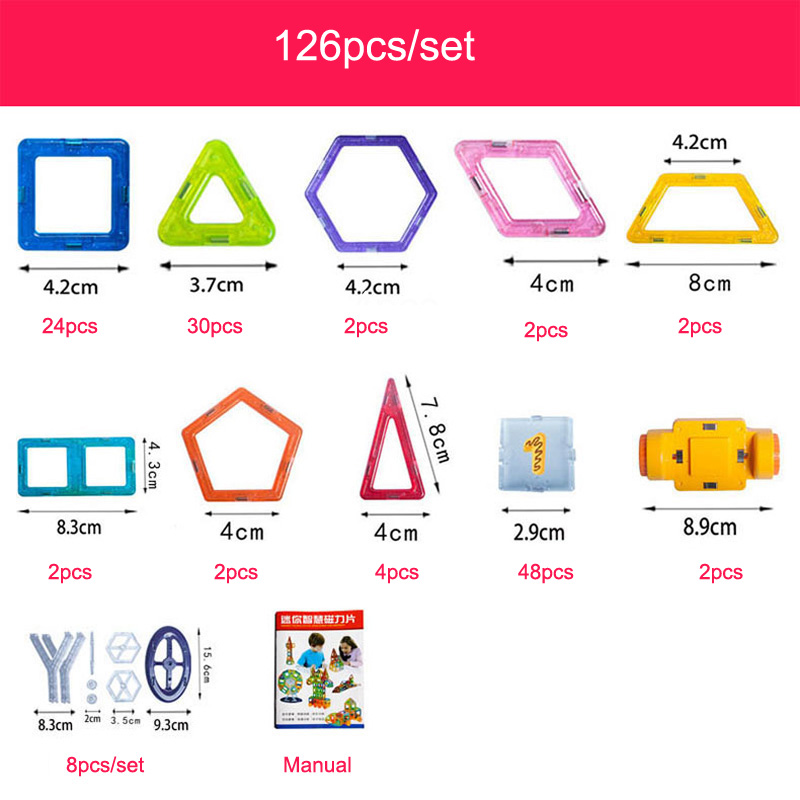 Купить с кэшбэком Enlighten 144Pcs Mini Magnetic Designer Construction Set Model Toy Plastic Magnetic Building Blocks Educational Toys For Kids