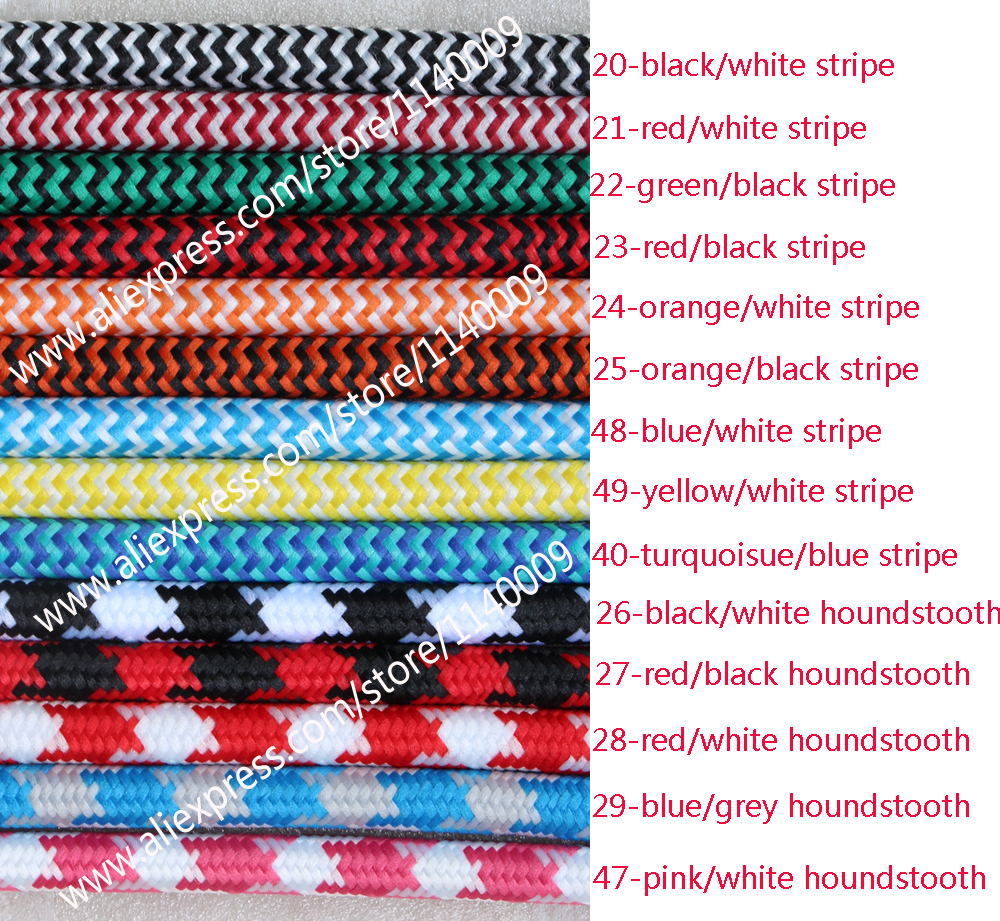 2m,3m,5m, or 10m/lot VDE certified 2 core Round Textile Electrical ...